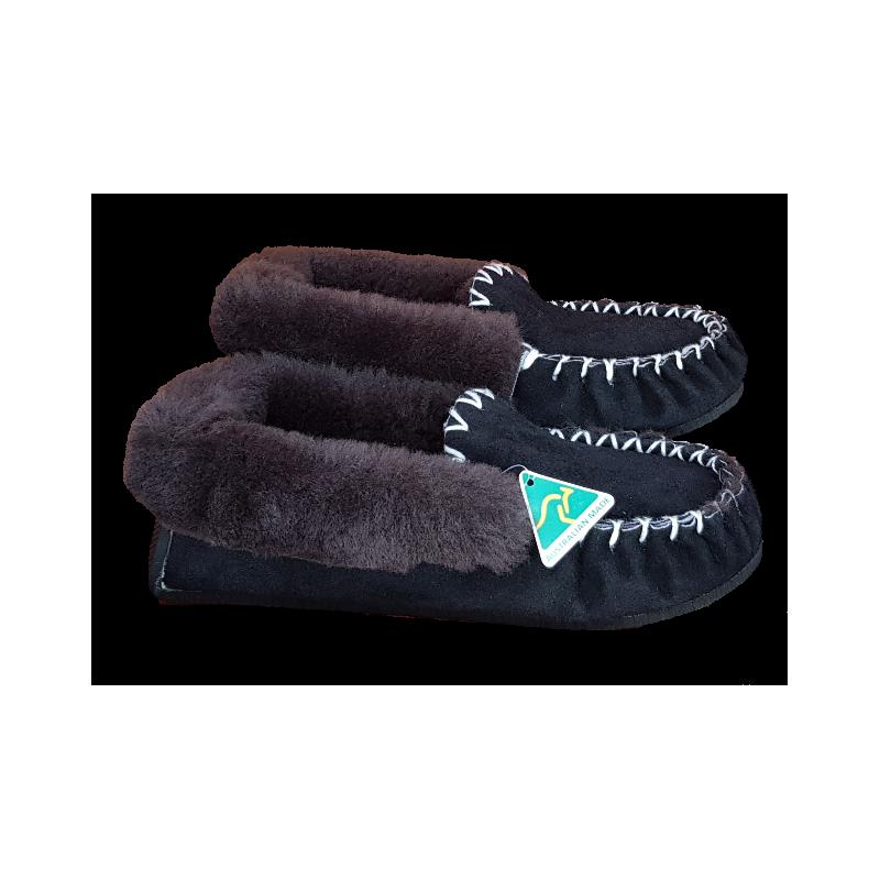 Black Brown Sheepskin  Moccasin  Slippers side