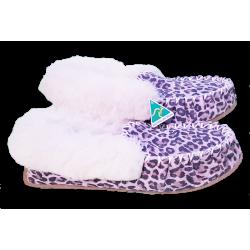 Snow Leopard Sheepskin Moccasin Slippers side