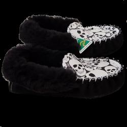 Glow Skull Sheepskin Moccasin Slippers side
