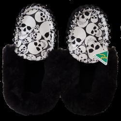 Glow Skull Sheepskin Moccasin Slippers top