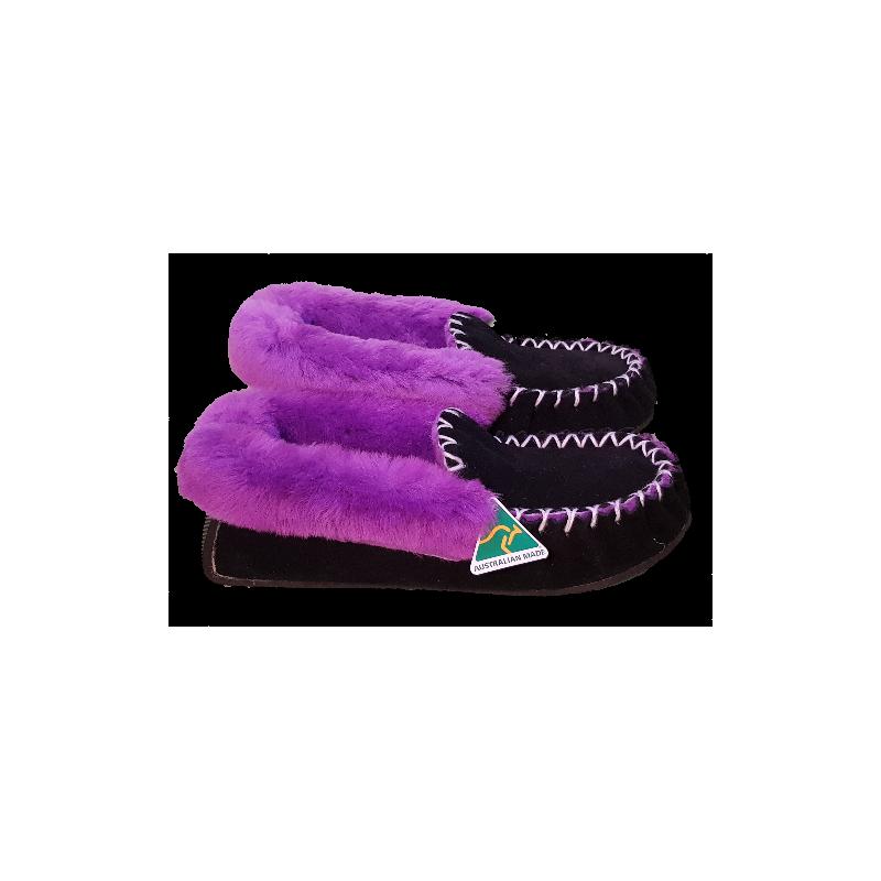Black Purple Sheepskin Moccasin Slippers side