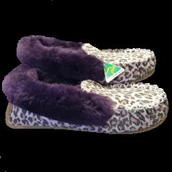 Purple Leopard Sheepskin Moccasin Slippers side