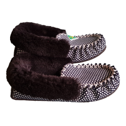 Polka Dot Sheepskin Moccasin Slippers side
