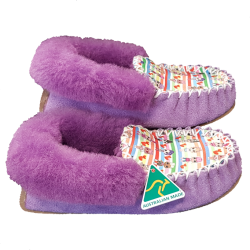 Light Purple Doll Sheepskin Moccasin Slippers side