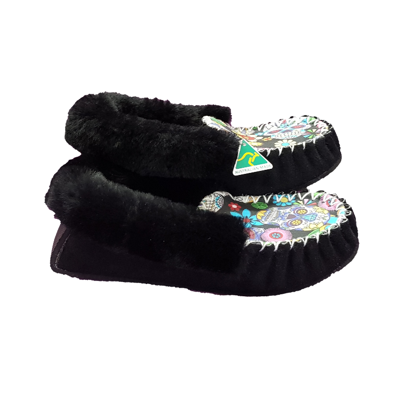 Black Sugar Skull Sheepskin Moccasin Slippers side
