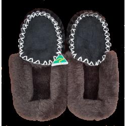 Black Brown Sheepskin Moccasin Slippers