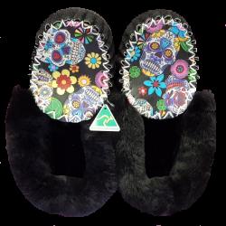 Black Sugar Skull Sheepskin Moccasin Slippers top