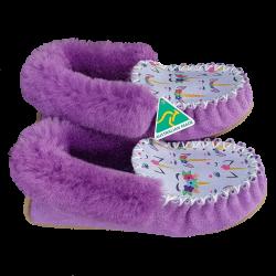 Light Purple Unicorn Sheepskin Moccasin Slippers side