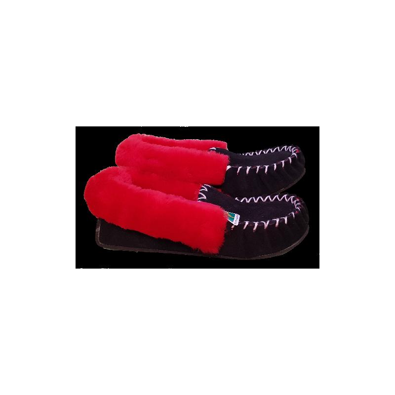 Black Red Sheepskin Moccasin Slippers side