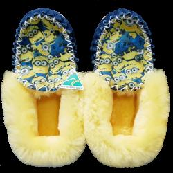 Classic Minion Sheepskin Moccasin Slippers top