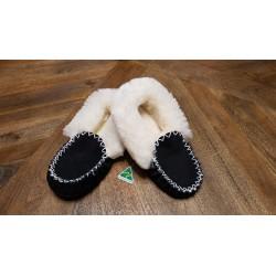 Black White Sheepskin Moccasin Slippers top