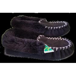 Black Sheepskin Moccasin Slippers side