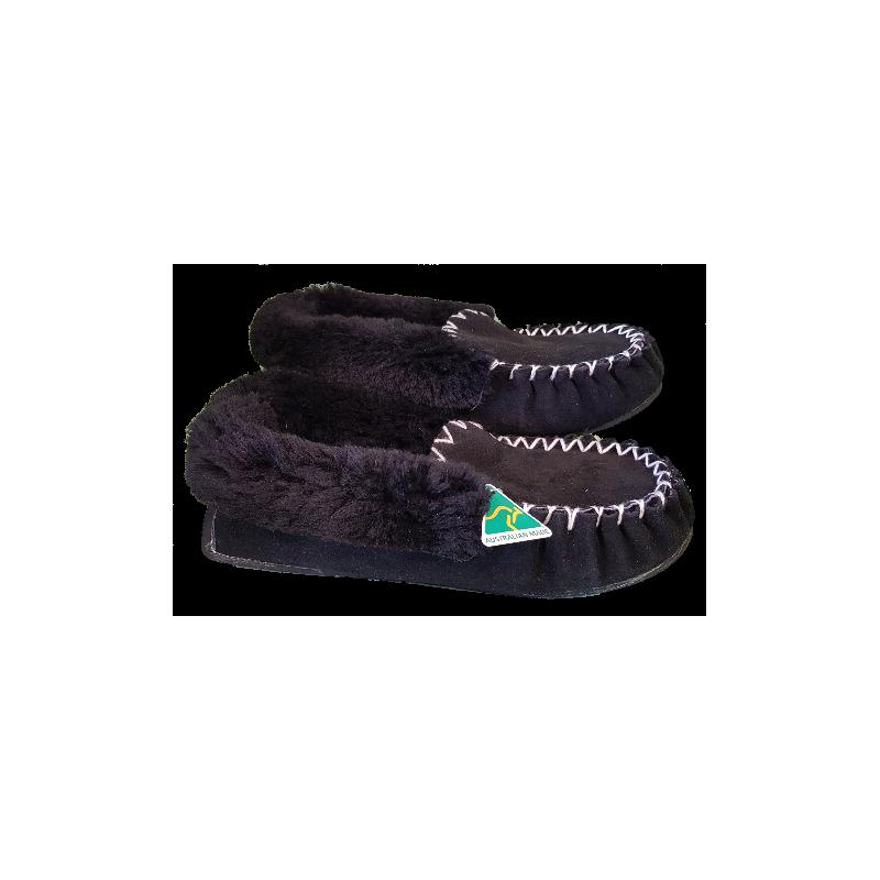 Black Pure Sheepskin Moccasins - 100