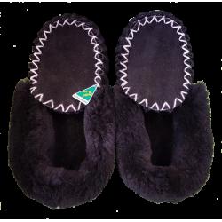 Black Sheepskin Moccasin Slippers top