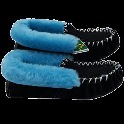 Black & Light Blue Sheepskin Moccasin Slippers side