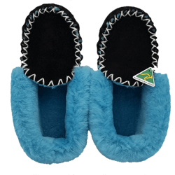 Black & Light Blue Sheepskin Moccasin Slippers top