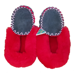 Bottle Green Red Moccasin Slippers top