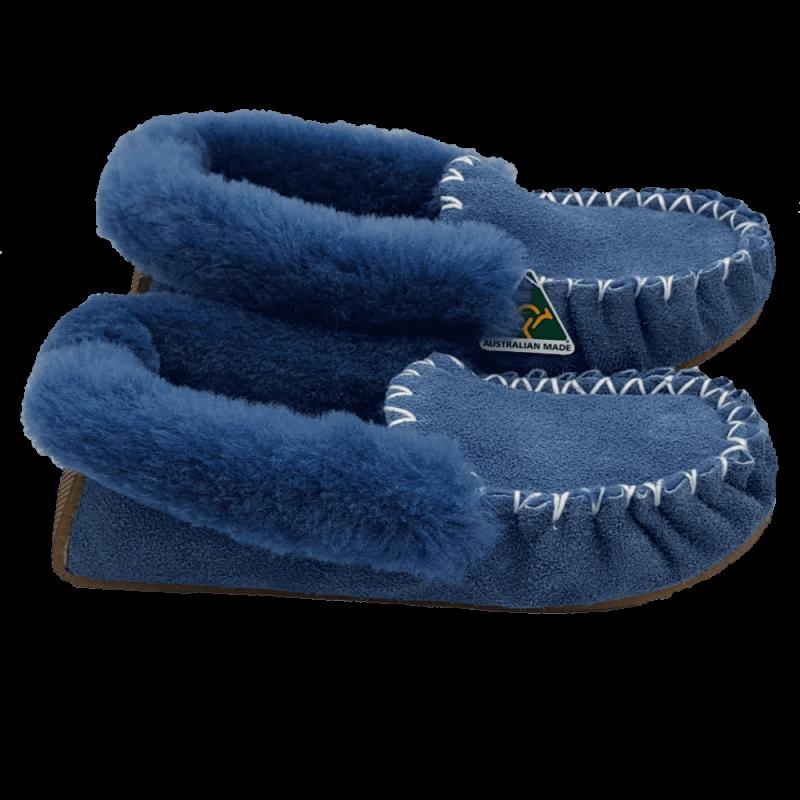 Eweniq Duck Egg Blue Sheepskin Moccasin Slippers side