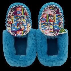 Eweniq Teal Blue Unicorn Sheepskin Moccasin Slippers top