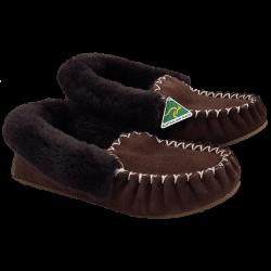 Eweniq Dark Brown Sheepskin Moccasin Slippers angle