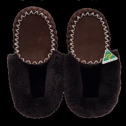 Eweniq Dark Brown Sheepskin Moccasin Slippers top