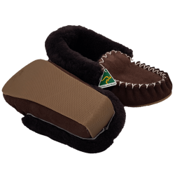 Eweniq Dark Brown Sheepskin Moccasin Slippers bottom
