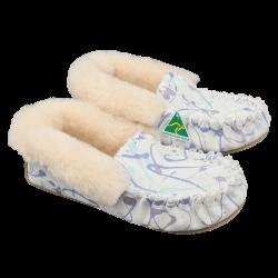 White Christmas Eweniq Sheepskin Moccasin Slippers Side