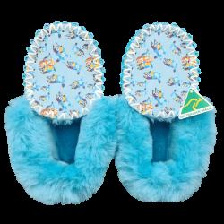 Blue Dog Sheepskin Moccasin Slippers top