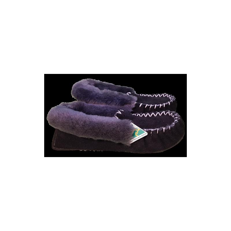 Black Grey Sheepskin Moccasin Slippers Side