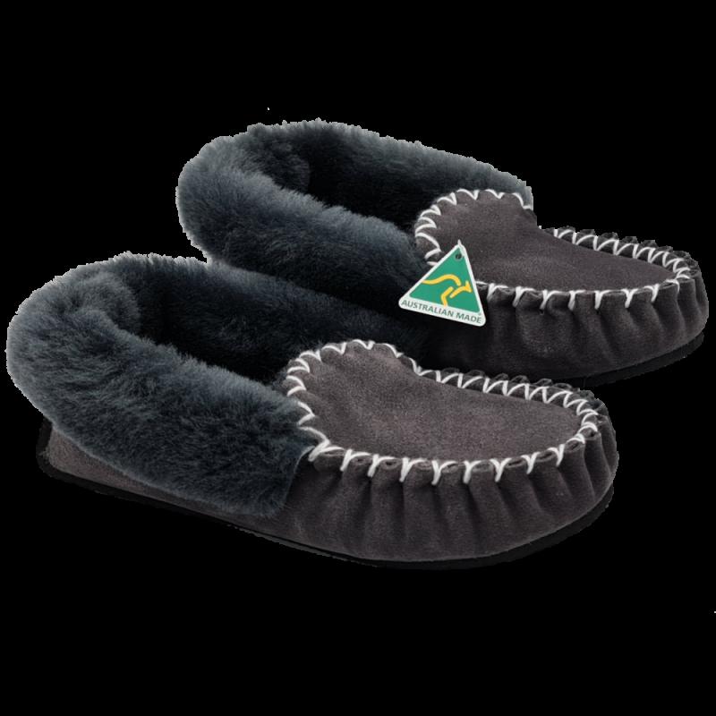 Charcoal Grey Sheepskin Moccasin Slippers side