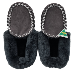 Charcoal Grey Sheepskin Moccasin Slippers top