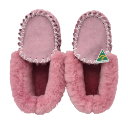 Dusty Pink Moccasin Slippers top