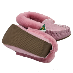 Dusty Pink Moccasin Slippers bottom