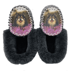 Personalised Sheepskin Moccasin Slippers Customer Approved Example of what can be achieved with a perfect photo.
