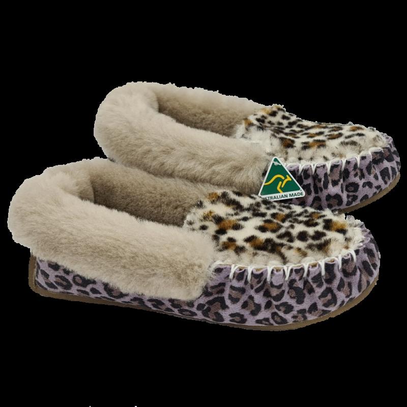 Jungle Cat Leopard Sheepskin Moccasin Slippers side