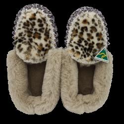Jungle Cat Leopard Sheepskin Moccasin Slippers top
