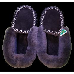 Black Grey Sheepskin Moccasin Slippers Top