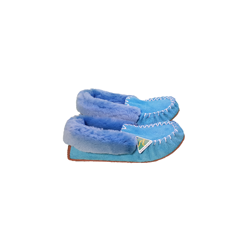 Teal Blue Moccasin Slippers side