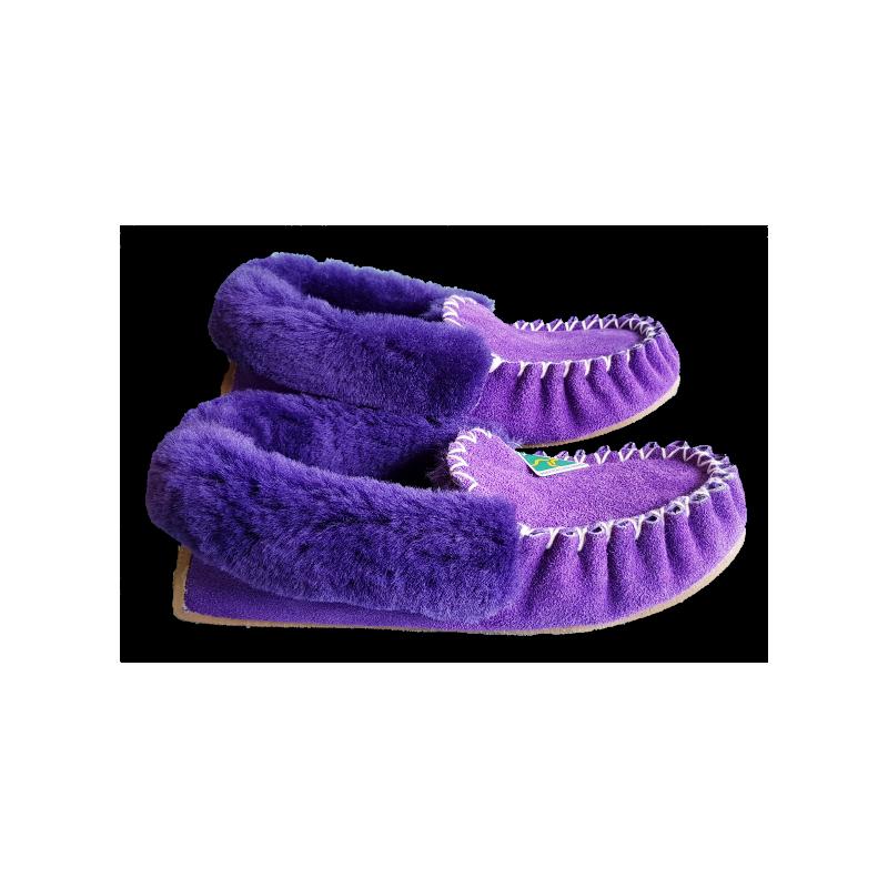 Purple Royale Sheepskin Moccasin Slippers side